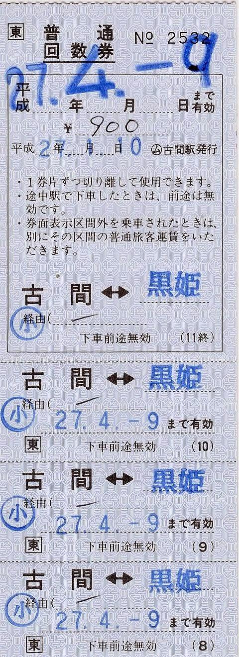 JR東日本 古間駅 発駅常備回数券