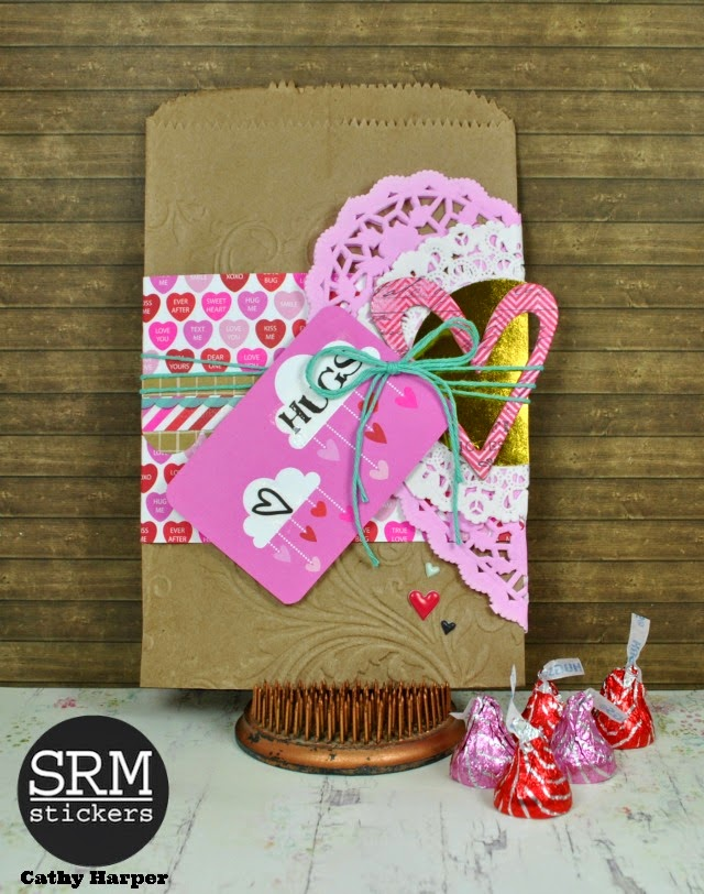 SRM Stickers Blog - Valentine Treat Bgs by Cathy H. - #valentine #treatbags #doilies #twine #glassine #kraft #stickers #love