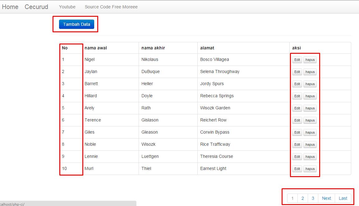 Contoh Aplikasi PHP Codeigniter MySQL Sederhana