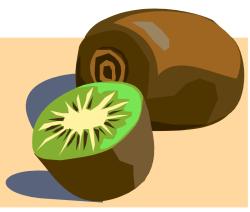 kiwi coupé en deux et kiwi entier