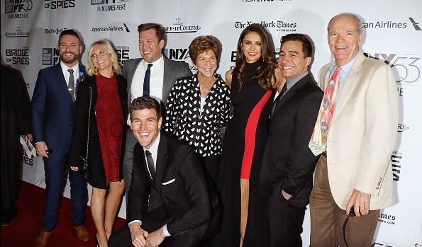 Nina Dobrev In Versace Attended 'Bridge of Spies' At New York Film Festival Premiere