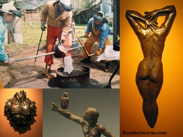 bronze casting, pouring bronze, molten bronze, sculpture, sculptor