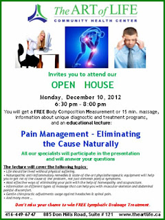 Pain Management – Eliminating the Cause Naturally - Open House Art of Life Community Centre, poster