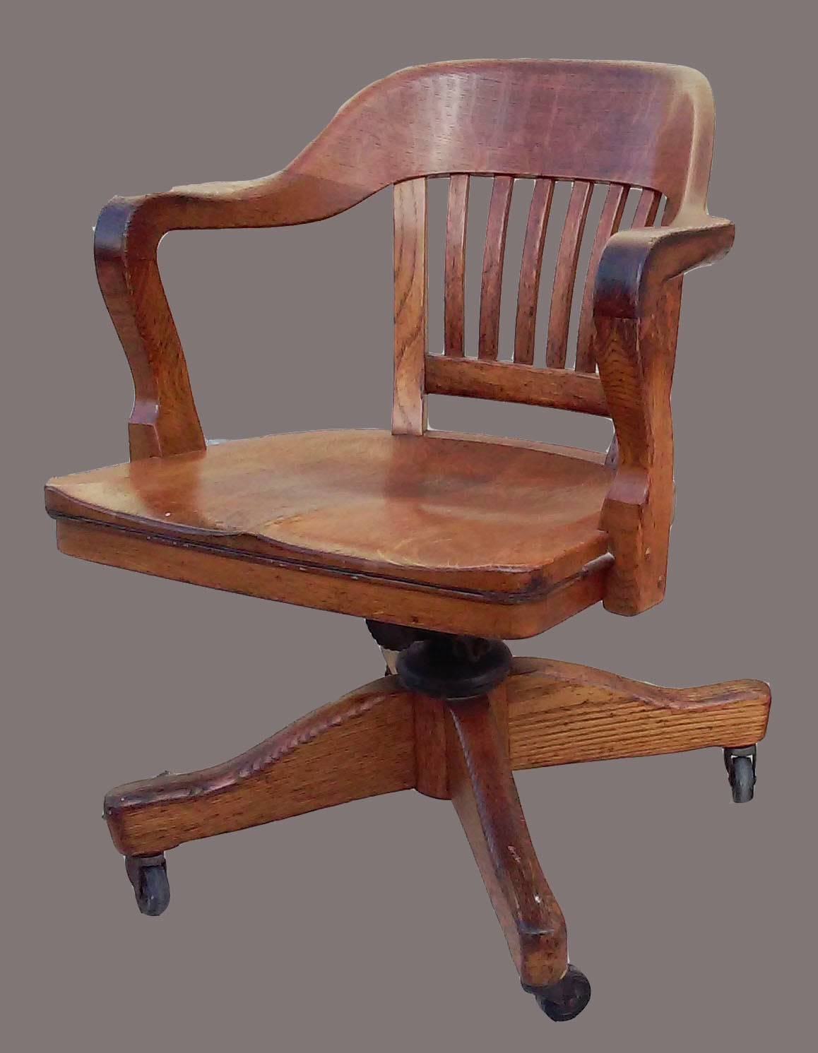 Uhuru Furniture & Collectibles: Oak Desk Chair with Wheels ...