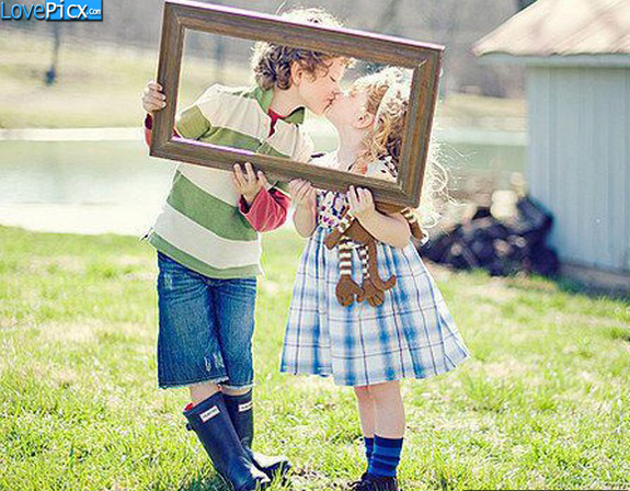 Kids Boy Girl Hug Kiss Romantic Beautiful