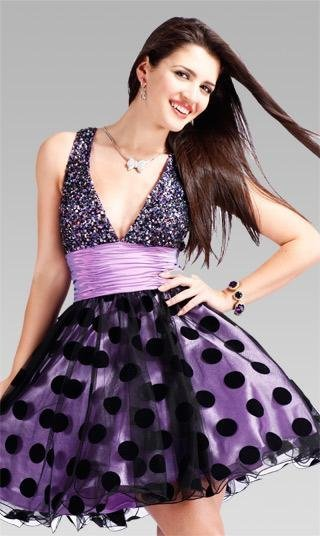 A-line+Halter+Purple+Short+Homecoming+Dresses