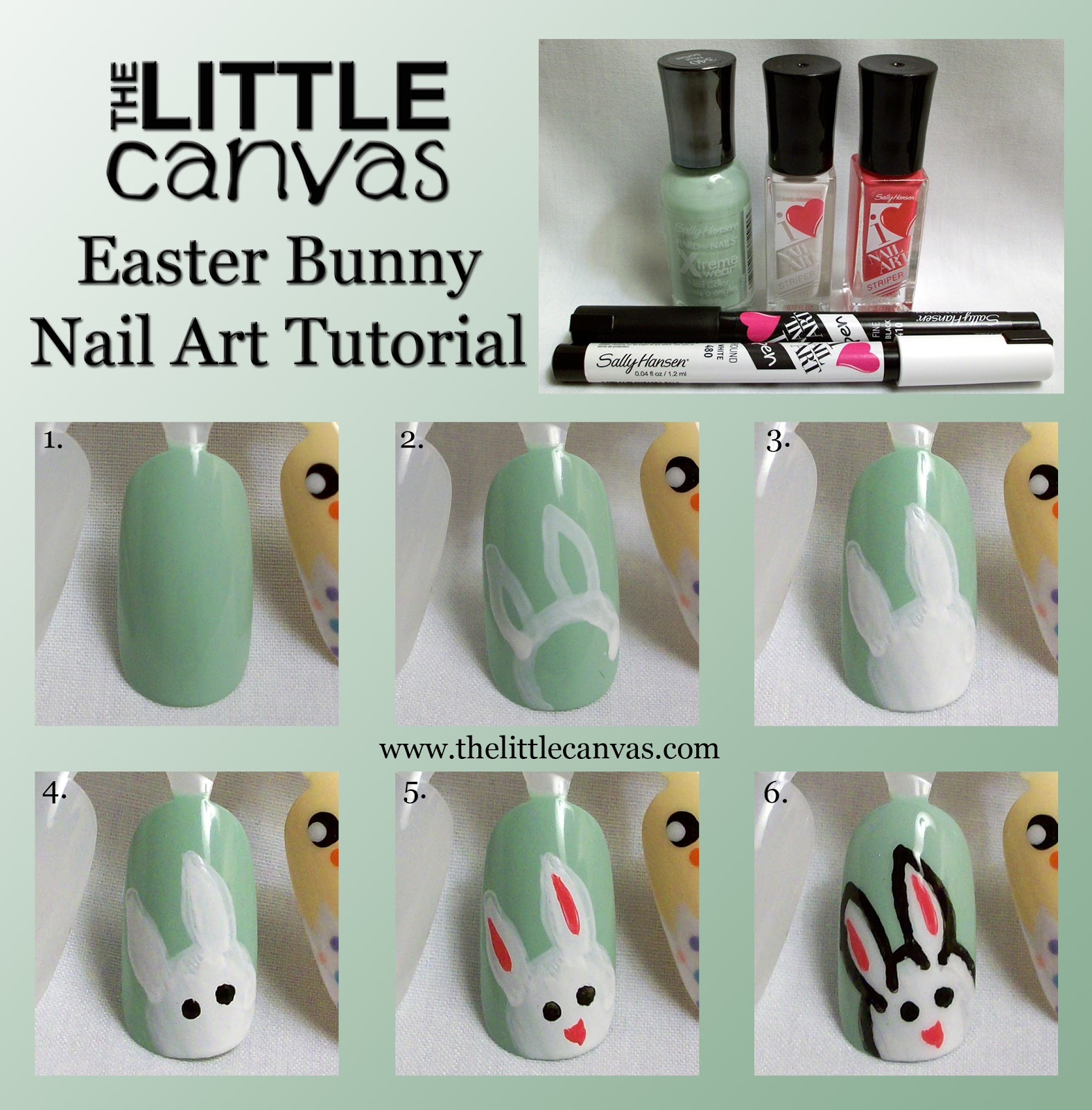 Easter Bunny Nail Art Tutorial with Sally Hansen - The Little Canvas