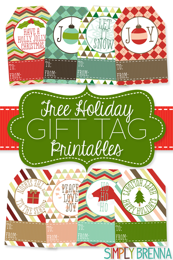 Free Holiday Gift Tag Printables from Simply Brenna