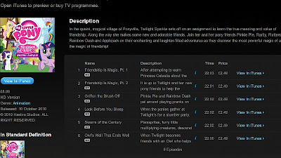 iTunes UK list of available episodes