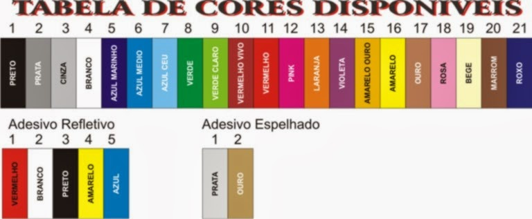 TABELA DE CORES ADESIVOS