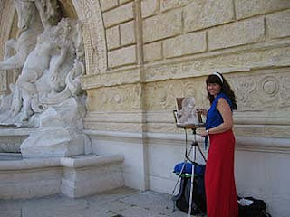 Parco della Montagnola, Bologna, Italy - Kelly Painting The Fountain in plein air