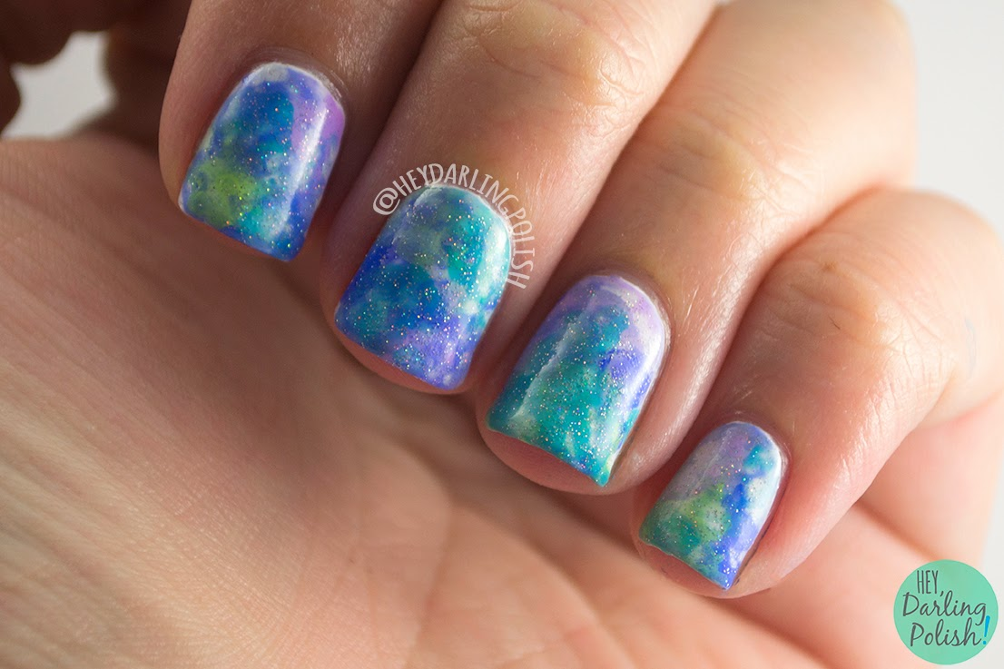 nails, nail art, nail polish, watercolor, watercolor nails, hey darling polish, the nail challenge collaborative