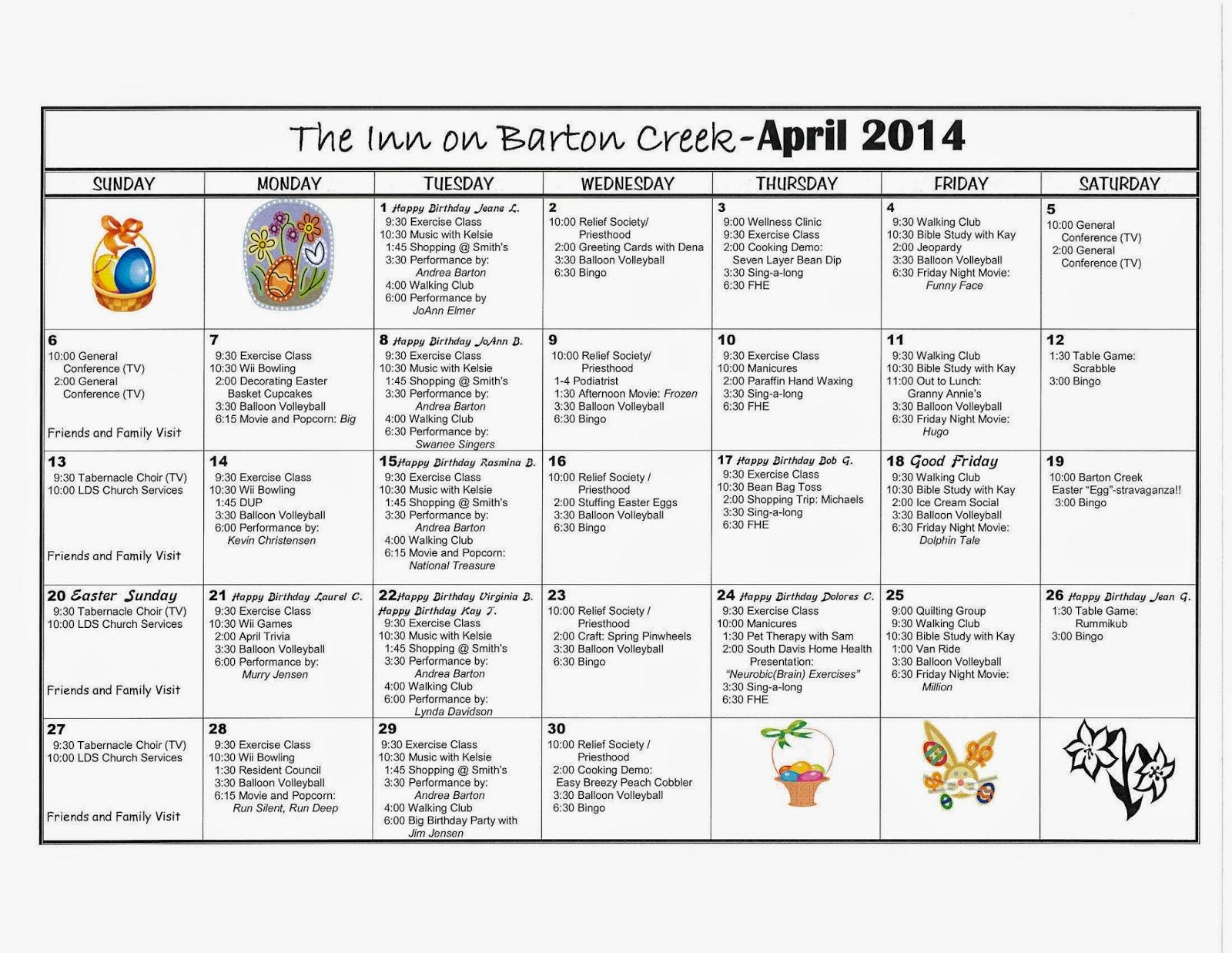 Calendar Ideas For April : Barton creek assisted living activities calendar april