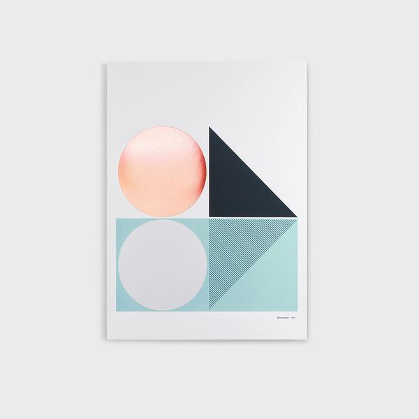 print af Tom Pigeon hvor fine farver er kombineret med metallic folie.