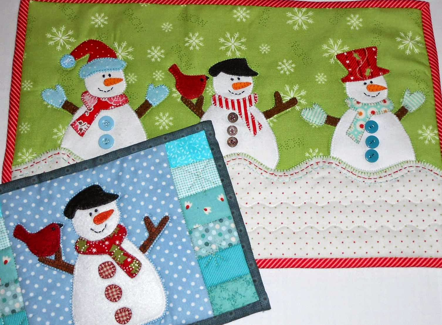 The Patchsmith Snowman Mug Rug Hats And Mittens