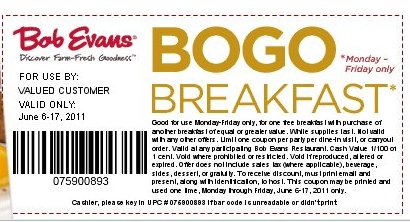 Bob evans coupons printable