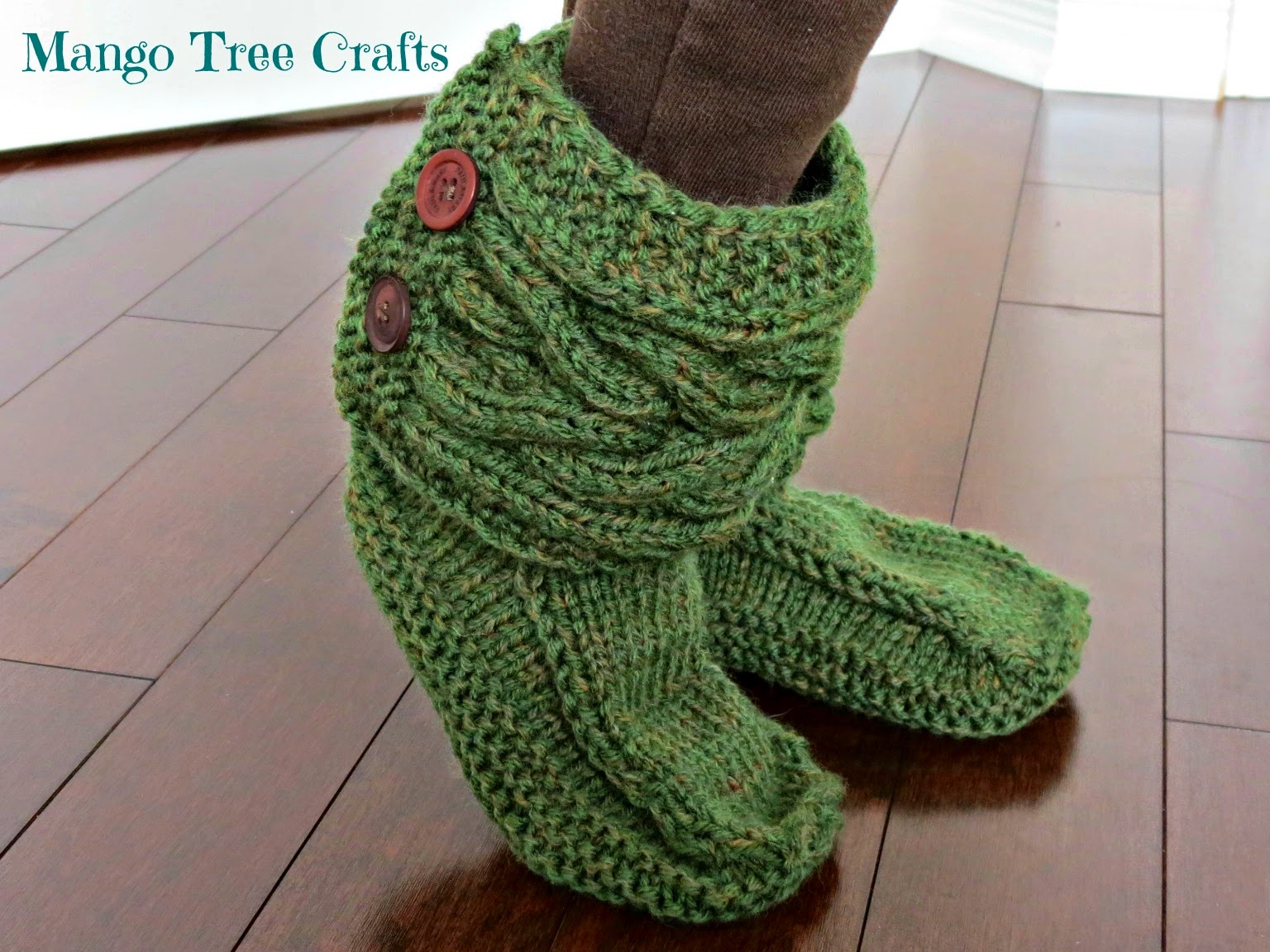 Knit Boots Pattern : Mango Tree Crafts: Knitted Slipper Boots