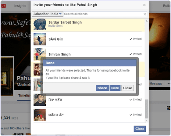 Invite All Friends To Facebook Page chrome extension