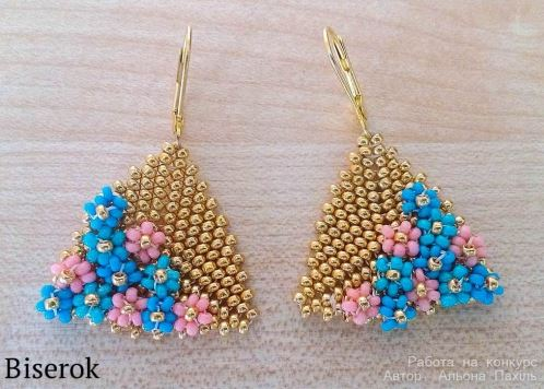 Check Out These Latest Beaded Flower Earring Tutorial Picks They Are Both Lovely The First Stunning Triangular Based Earrings By Alyona Pahil On Biserok