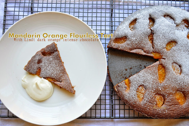 Gluten free flourless chocolate tart with orange