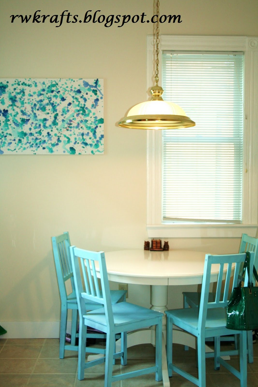 Turquoise kitchen walls like the chair color too decorating - I Love My New Kitchen And The Hubby Actually Really Likes It Too Why Do Men Doubt Our Decorating Skills I Think Painting The Chairs Such A Bold