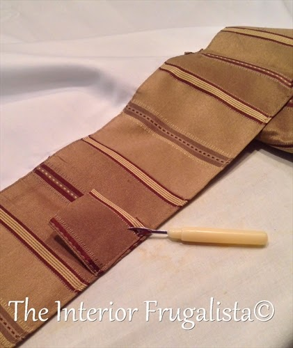 Removing tabs on a drapery panel and reusing the hem for a roman shade