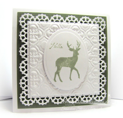 North Coast Creations Stamp sets: Deer Silhouette Greetings, Our Daily Bread Designs Custom Dies: Layered Lacey Squares, Quatrefoil Pattern