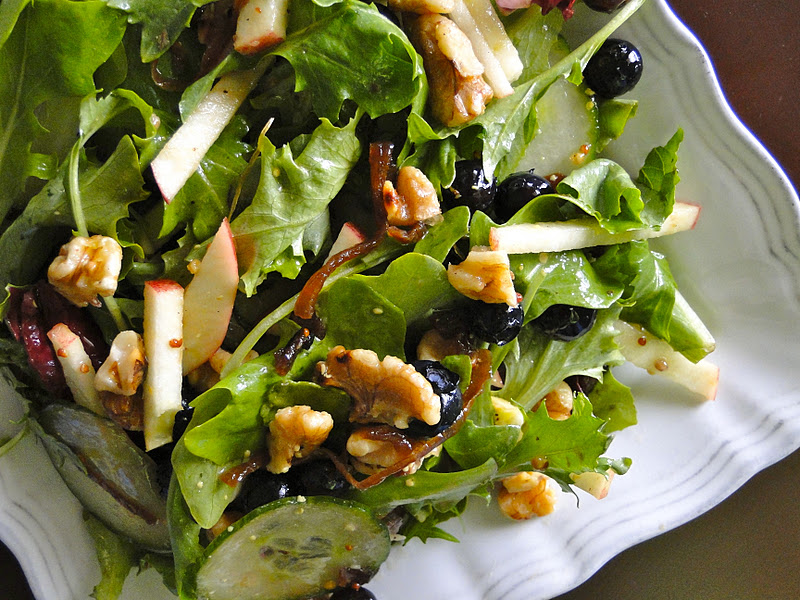 Caramelized Onion-Apple-Blueberry-Walnut Salad w/ Dijon Dressing