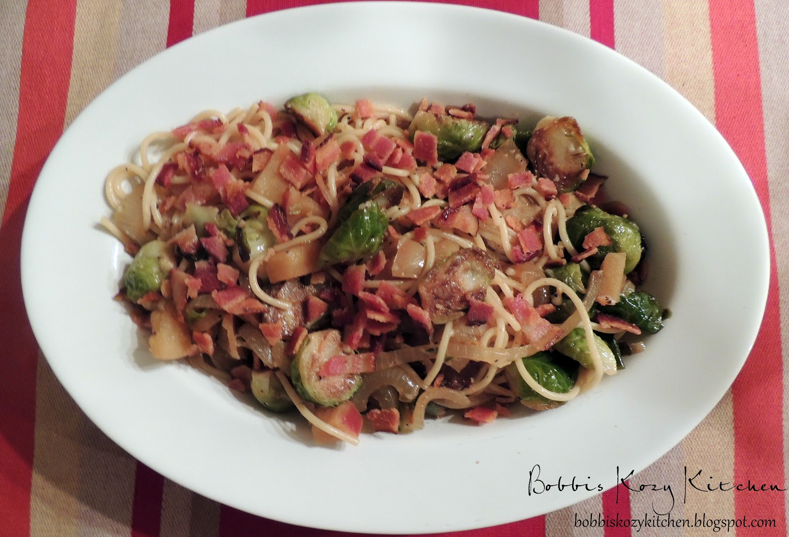... Kitchen: Pasta with Caramelized Onions, Brussels Sprouts, and Apples