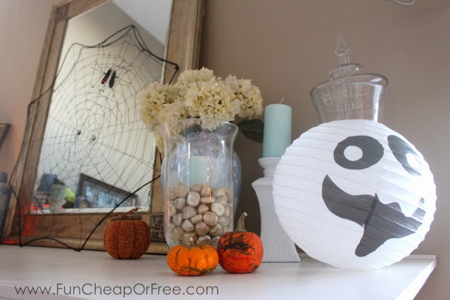 Halloween decorations on a mantel, from Fun Cheap or Free