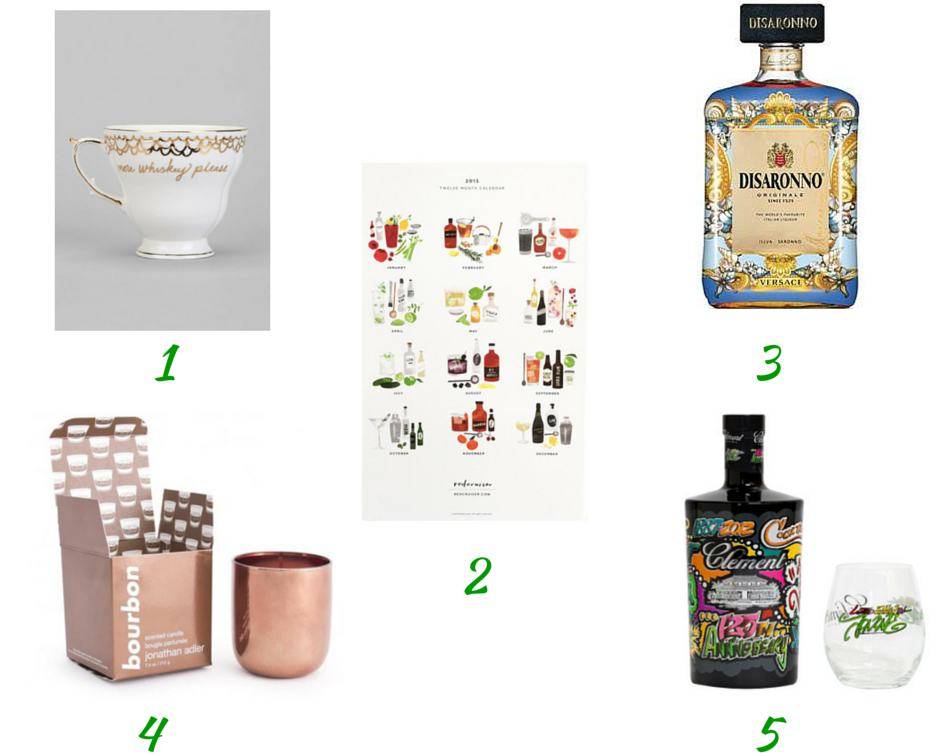Cheeky Tea cup, stir and shake calendar, Disaronno wears Versace bottle, Bourbon Pop candle, Rhum Clement Jonone bottle