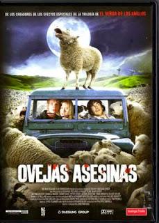 Portada película Ovejas asesinas fotogramailustrado humor terror gore Encerrados en un coche luna llena black sheep
