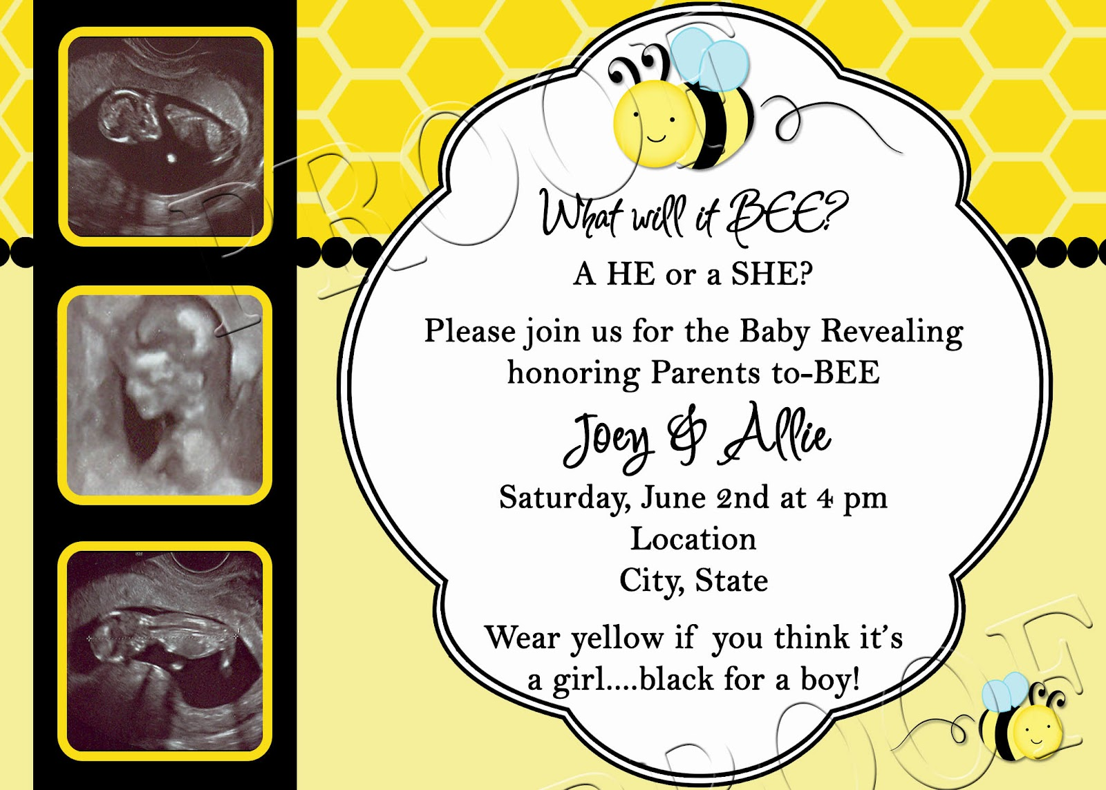 Fanci Prints by Tiffany: What\'s It Gonna BEE? Gender Reveal Invitation