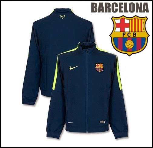 Barcelona Squad Sideline Woven Warm Up Suit - Navy Yellow 2014- 2015
