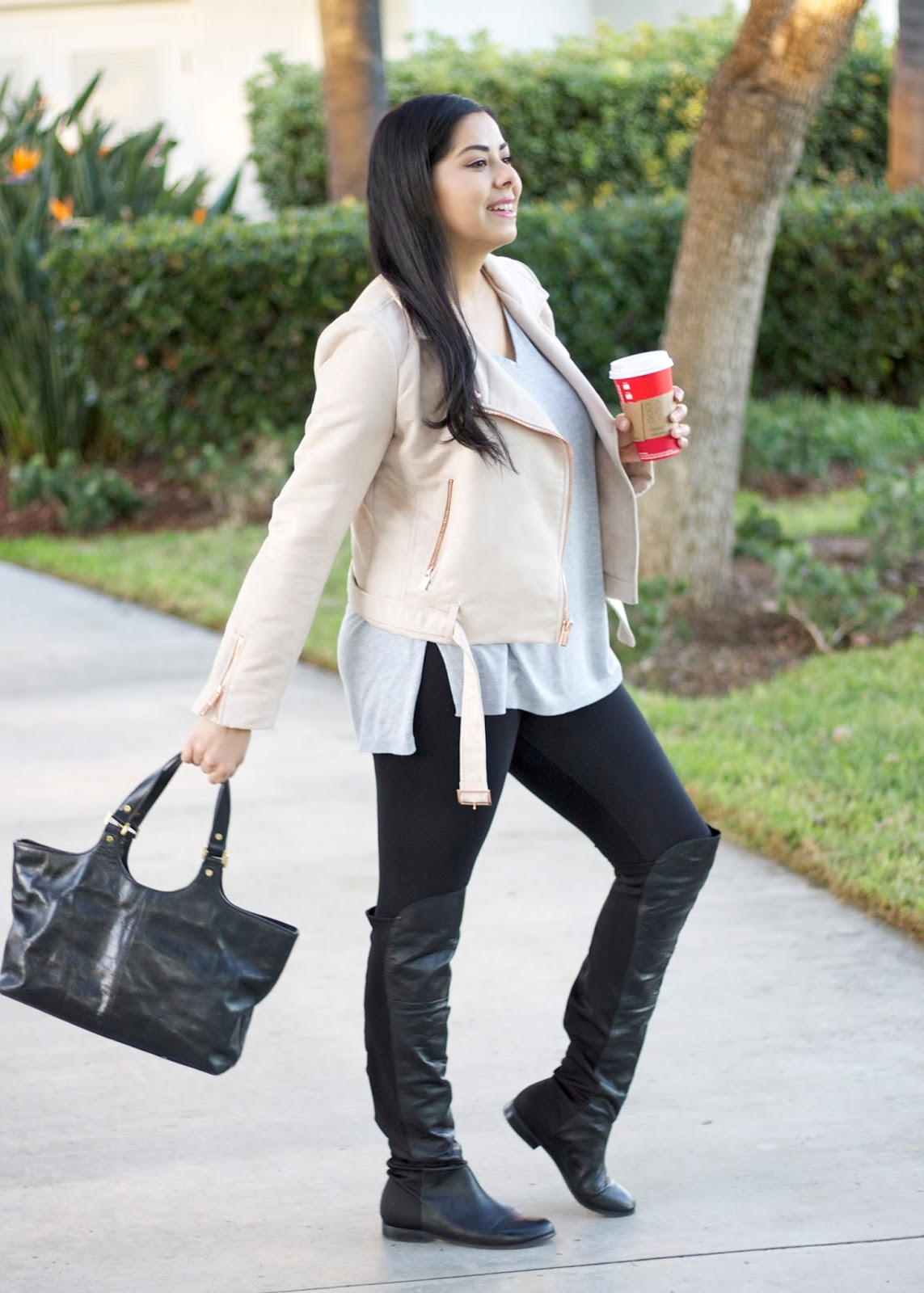 how to wear a moto jacket, over the knee boots under $200, over the knee boots under $150, tory burch black leather handbag