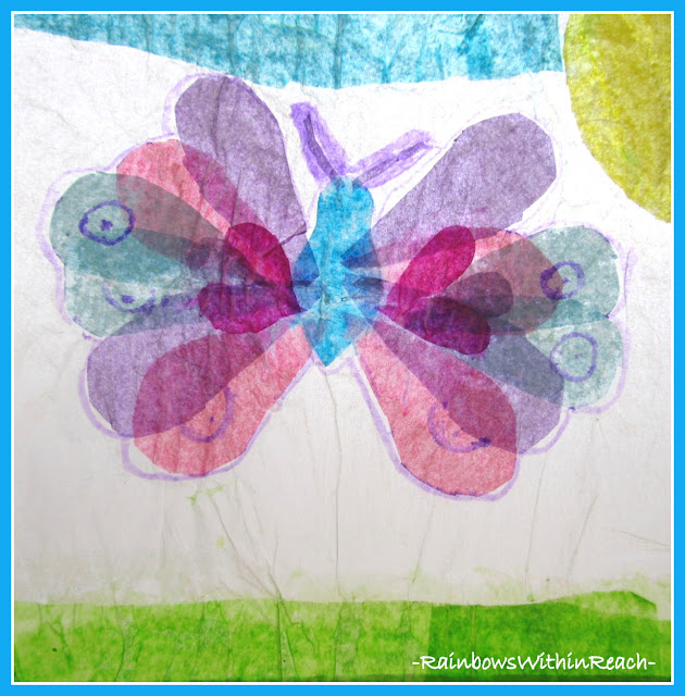 photo of: Tissue Paper Sun Catcher Butterfly Art Project