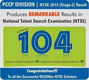 Outstanding Achievement in NTSE 2014 Stage 2