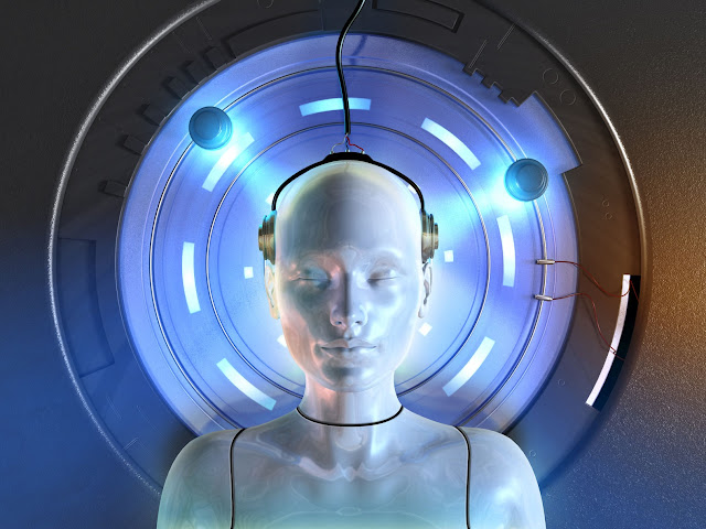 A graphic of a female Android sleeping and plugged into a machine.