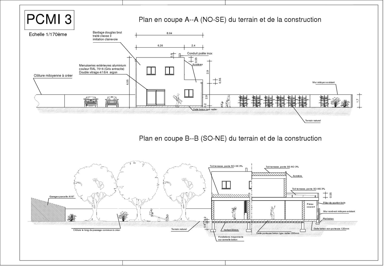 Une maison en bois le permis de construire - Plan en coupe terrain et construction ...