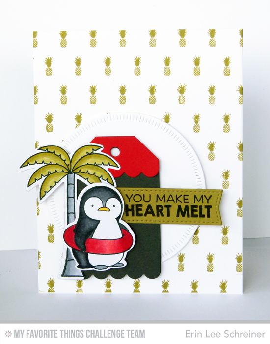 Heart Melting Penguin Card by Erin Lee Schreiner featuring the Birdie Brown Penguins in Paradise stamp set and Die-namics, Pineapple Background stamp, and Tag Builder Blueprints 2 Die-namics #mftstamps