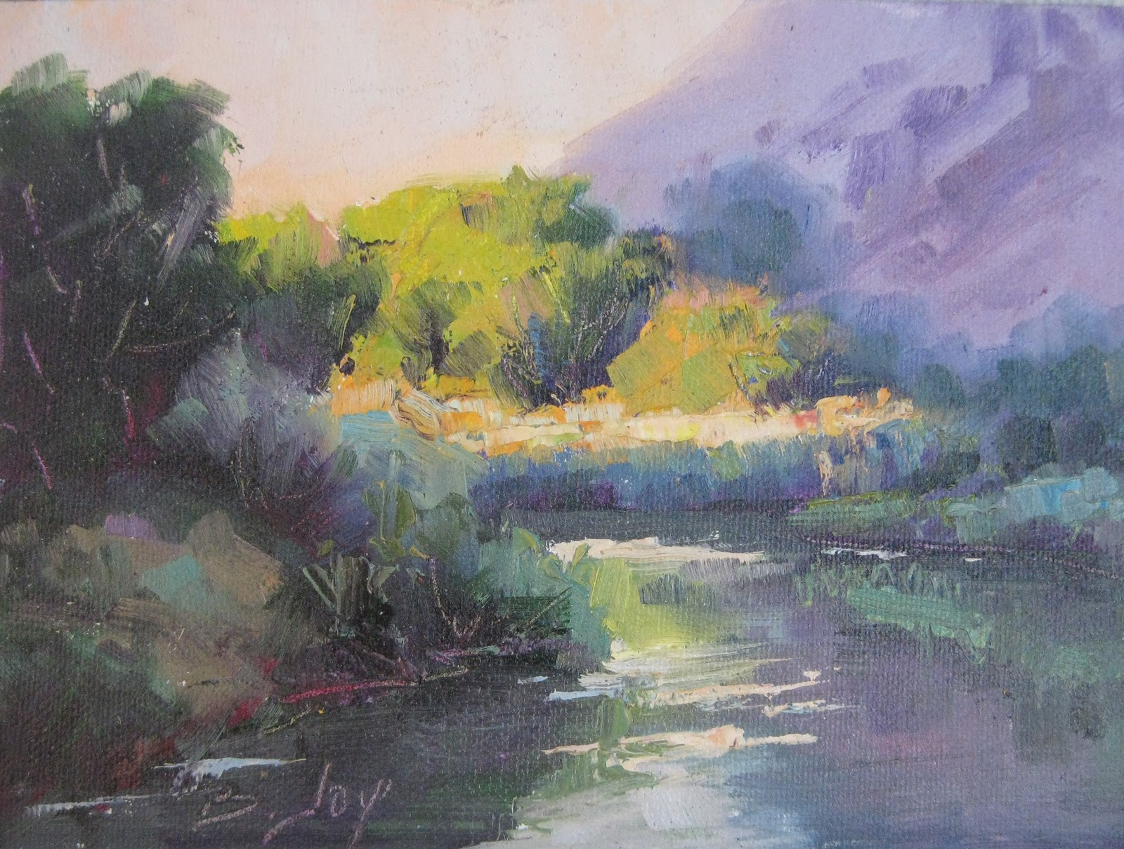 Palette Knife Painters BECKY JOY Palette Knife River And Trees