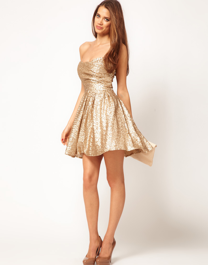 New Year Party Dresses Of Lush Doodles Tfnc Sequin Dress Structured Bandeau Full