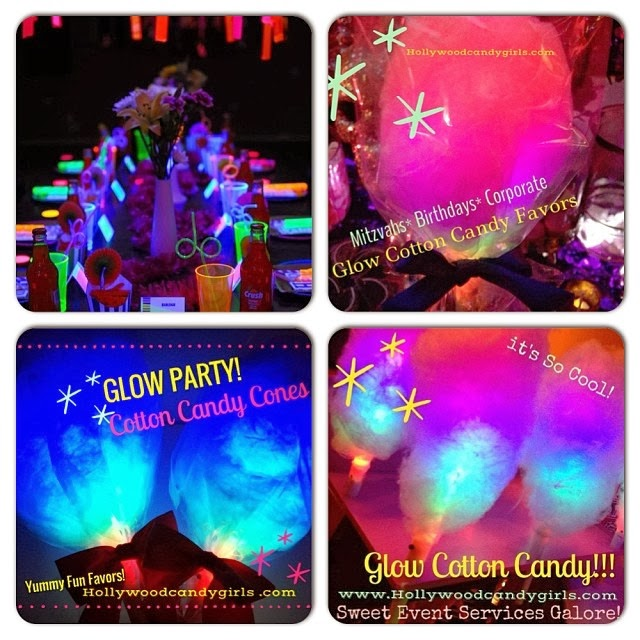 Neon Party Black Light GLOW In The Dark Mitzvah Themes Weddings Sweet 16 Quince Glow Cotton Candy Fun Favor Floss Cones