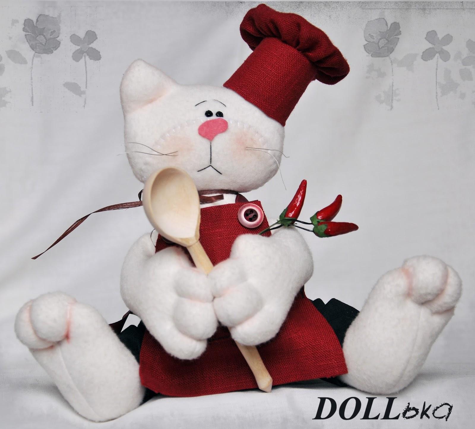 Кот шеф-повар текстильный