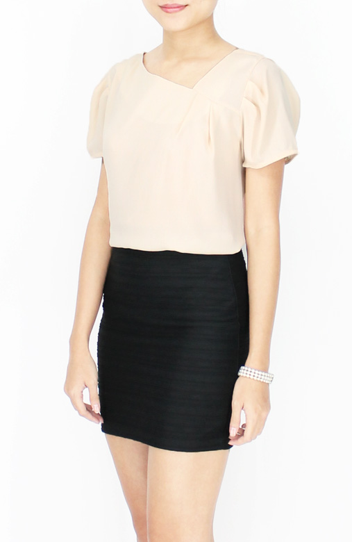 Vanilla Classic Diagonal V Neck Blouse with Side Pleat