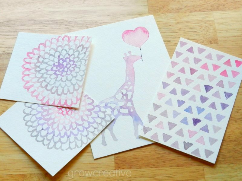 Original Watercolor Paintings and Designs in Pink, Purple and Grey color schemes: Grow Creative