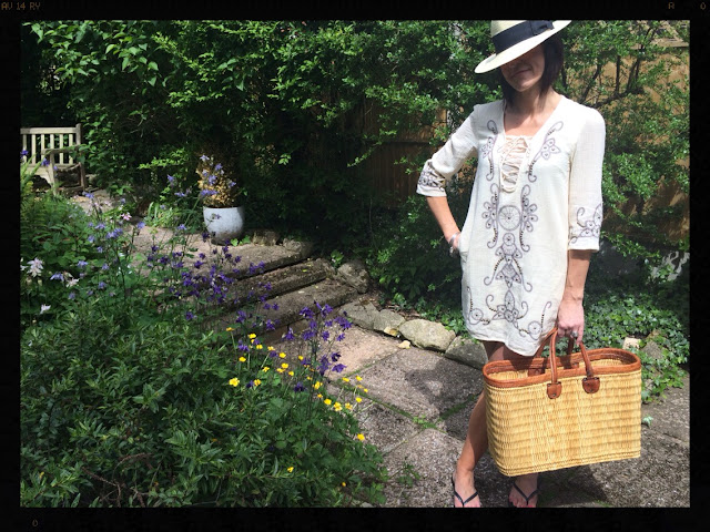la Redoute Long Sleeved Dress With Embroidery and Studs My Midlife Fashion, Beach Looks, Panama, Basket, Havaianas