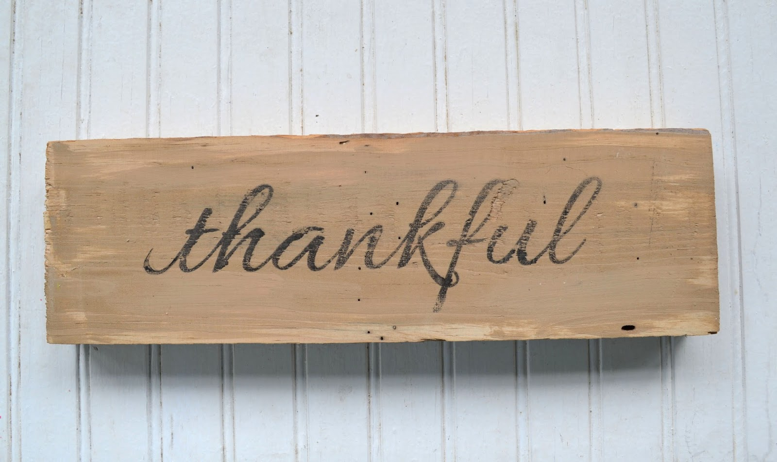 rustic wood thankful sign