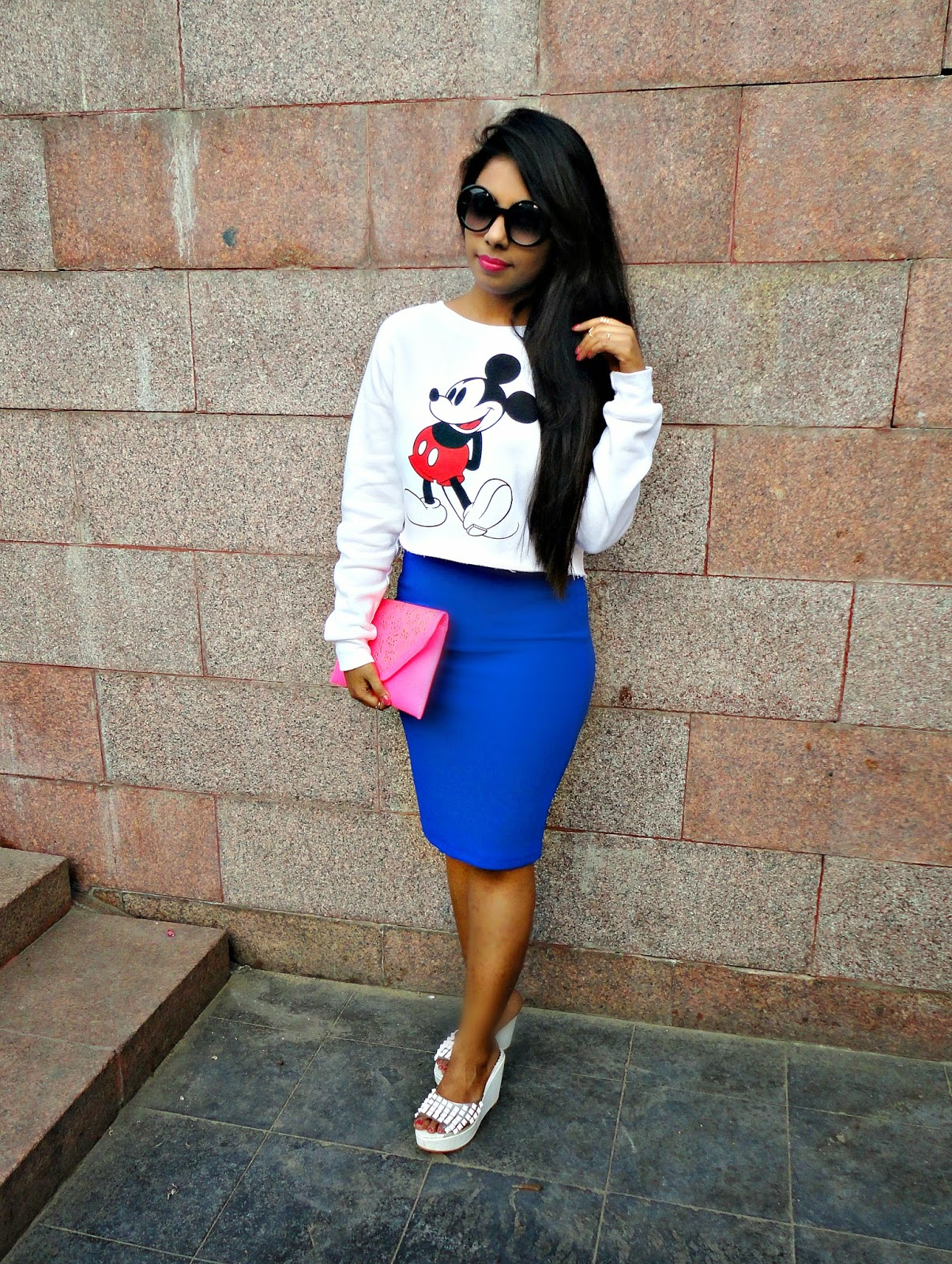 The Broke Chica: Cropped Mickey Sweatshirt with Pencil Skirt