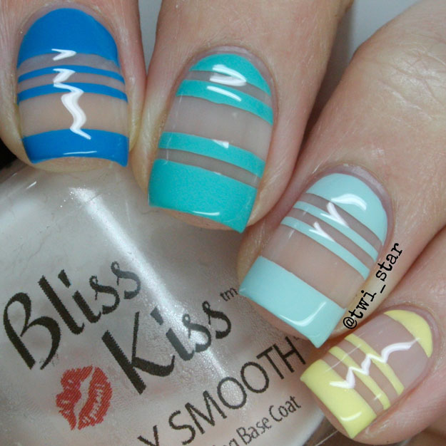 Bliss Kiss Simply Smooth base coat negative space nail art